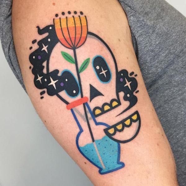tatuagem psicodélica de caveira