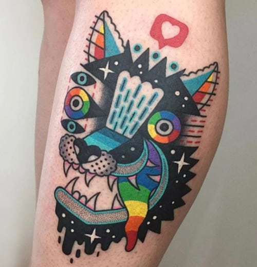 tatuagem psicodélica estilosa