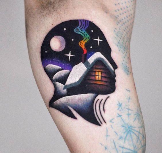 tatuagem psicodélica masculina