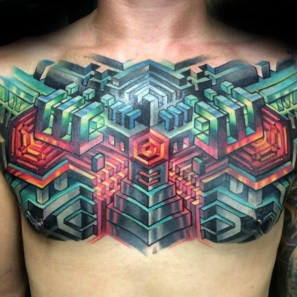 tatuagem psicodélica no peito