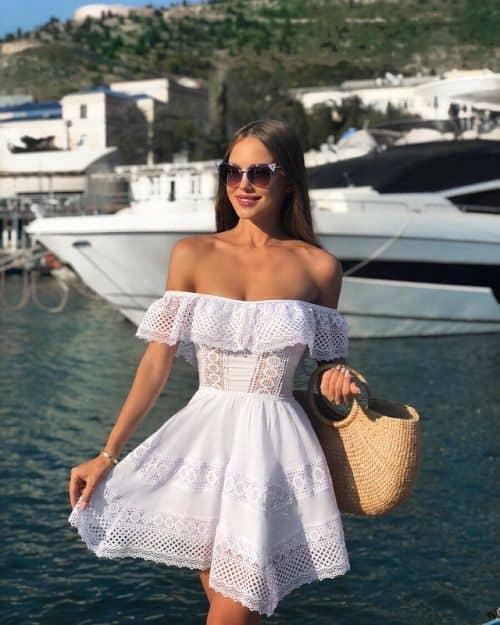 vestido ombro a ombro branco 46