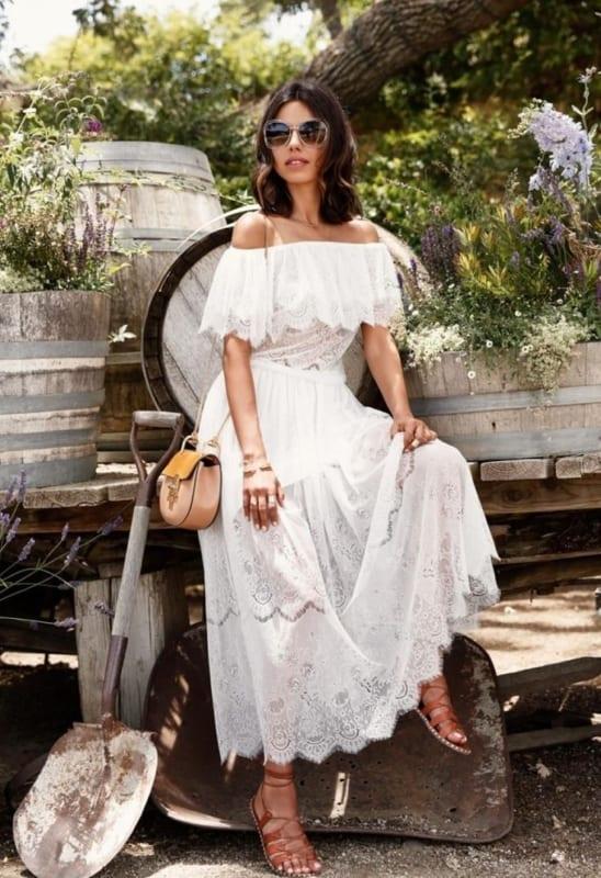 vestido ombro ombro branco 48