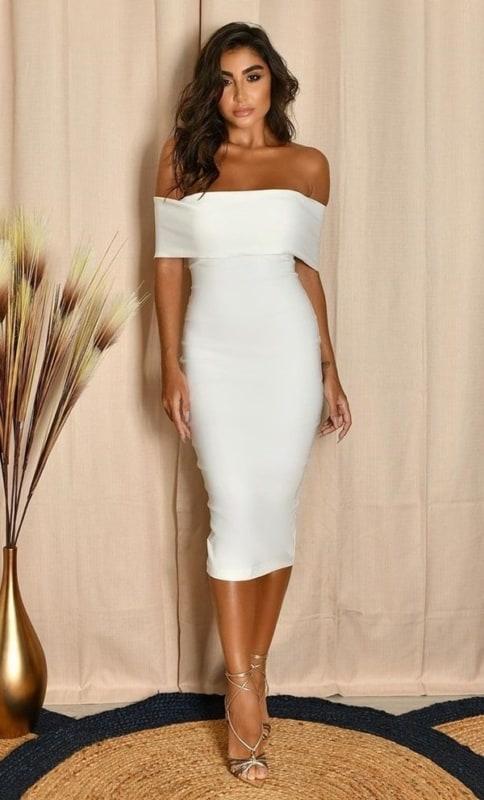 vestido tubinho branco 38
