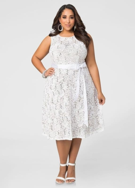 white dress plus size 52
