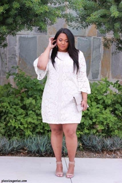 white dress plus size 56