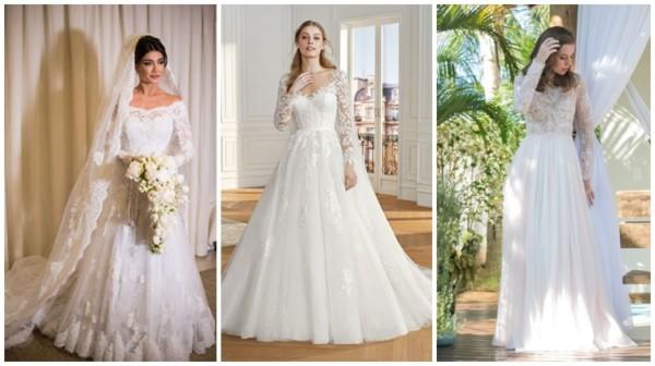 modelos de vestido de noiva com manga longa