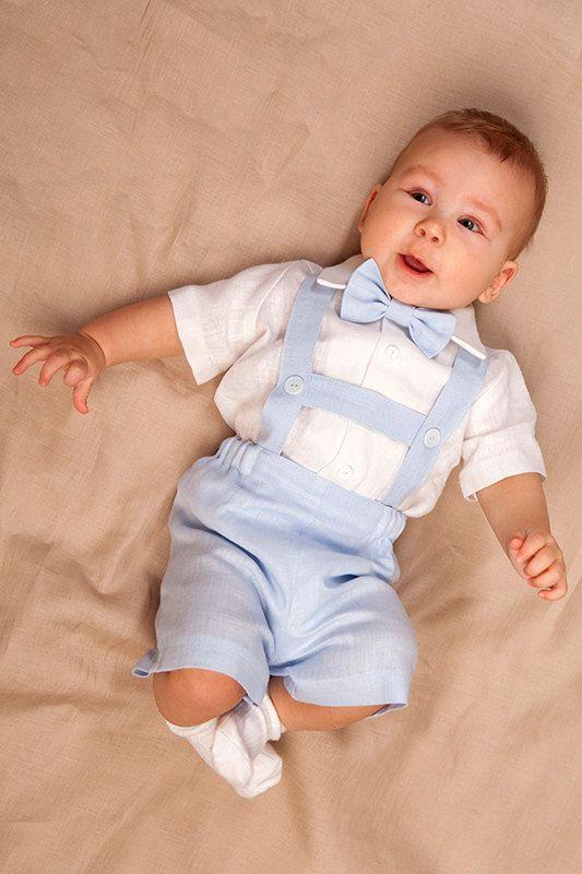 look para batizado de bebê com suspensório e bermuda