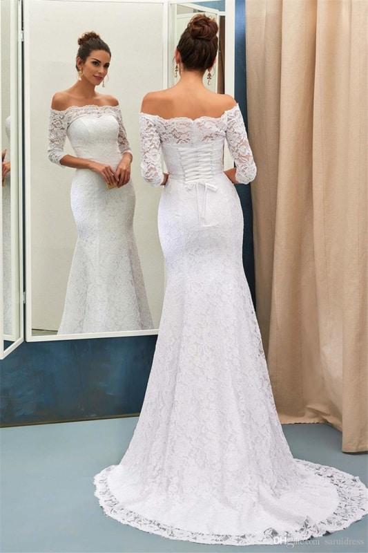 vestido de noiva em renda com manga média