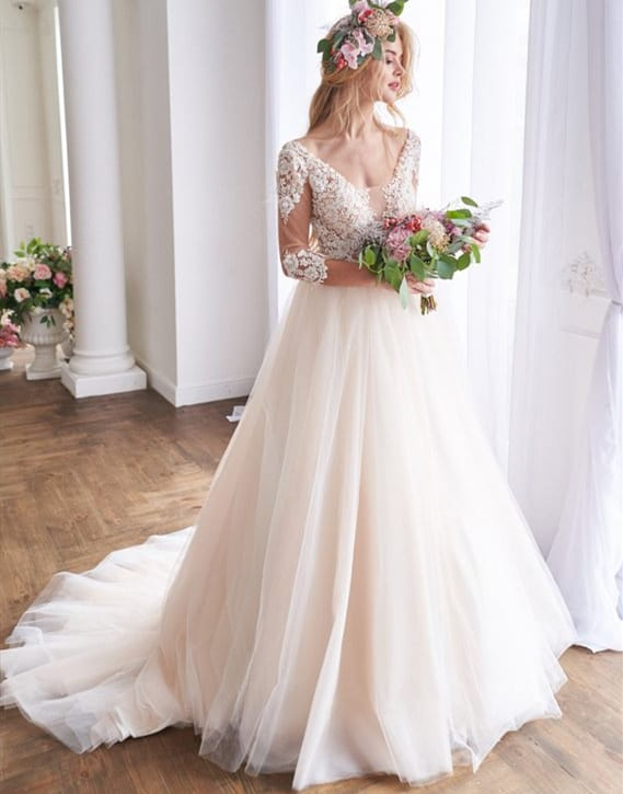 vestido de noiva romântico com manga média