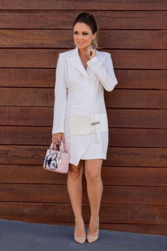 look com vestido social branco
