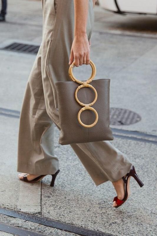 look com bolsa de verão com alça de bambu