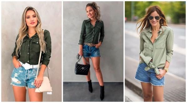 como usar camisa verde militar com short