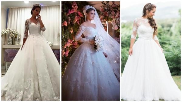 modelos de vestido de noiva princesa com manga