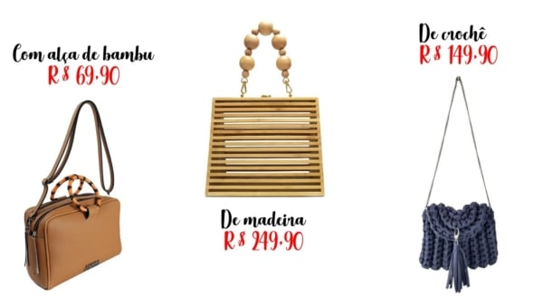 preços bolsas da moda