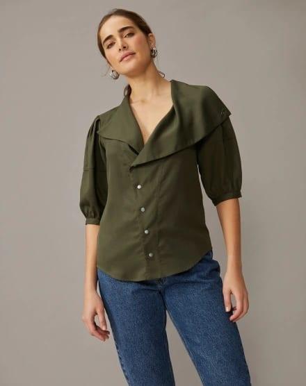 look com camisa moderna verde militar