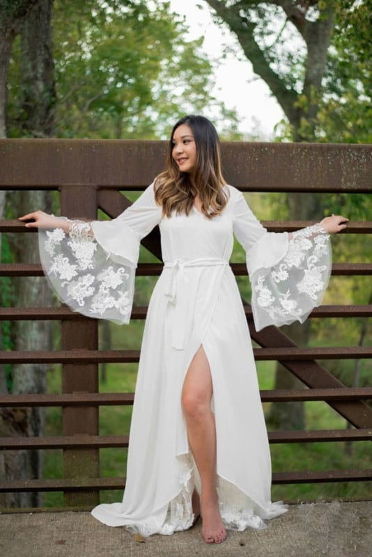 vestido de noiva boho com manga flare