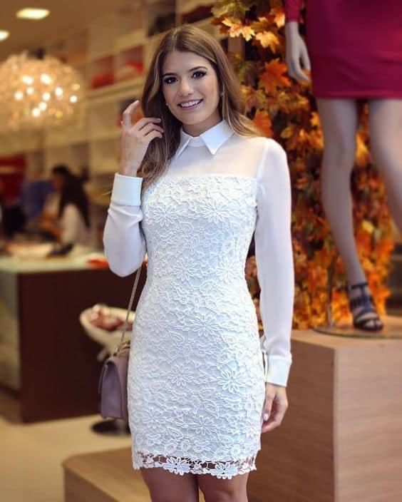 look com vestido de renda branca