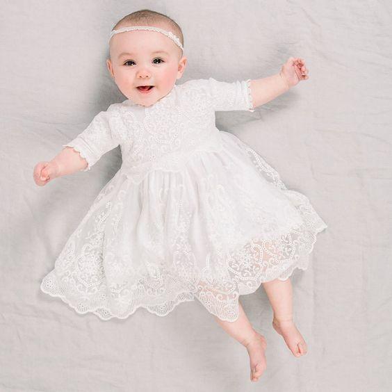 vestido branco para batizado de bebê menina