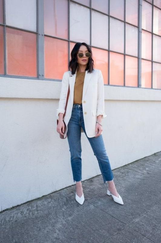 Look feminino com mule branco