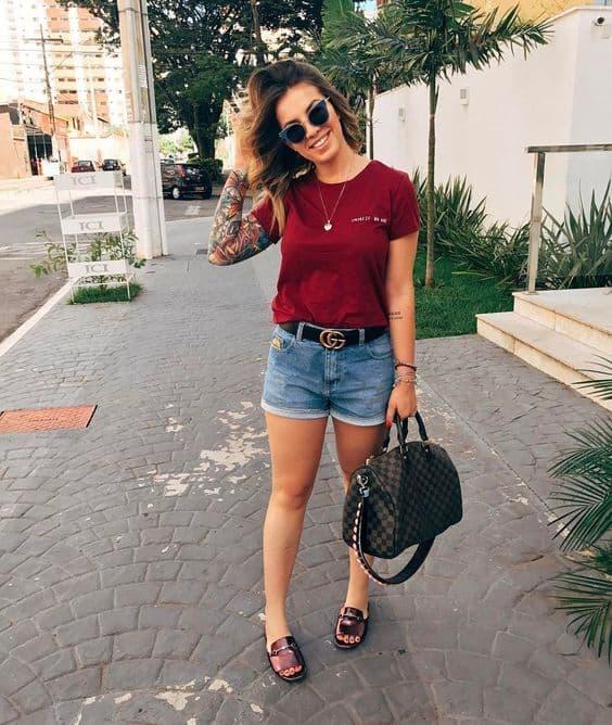 Short jeans com mule
