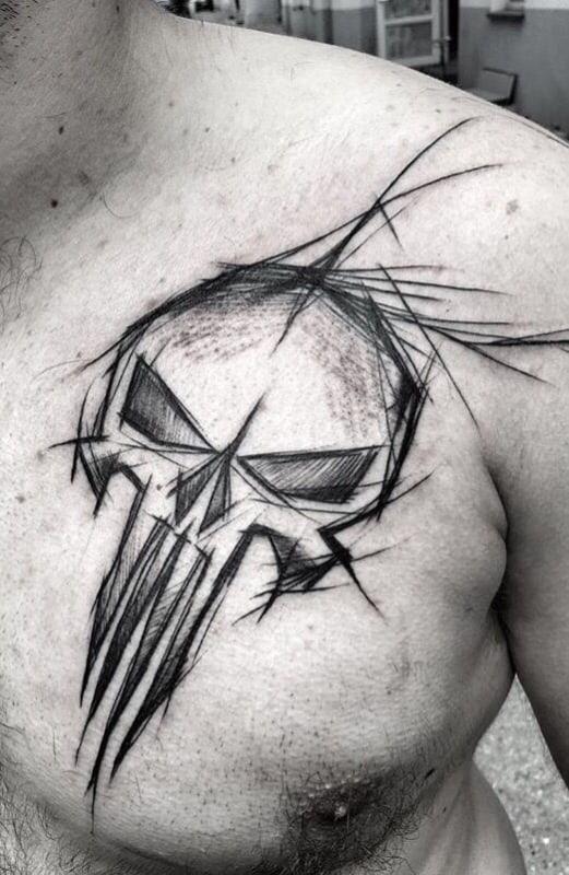 caveira em tatuagem sketch
