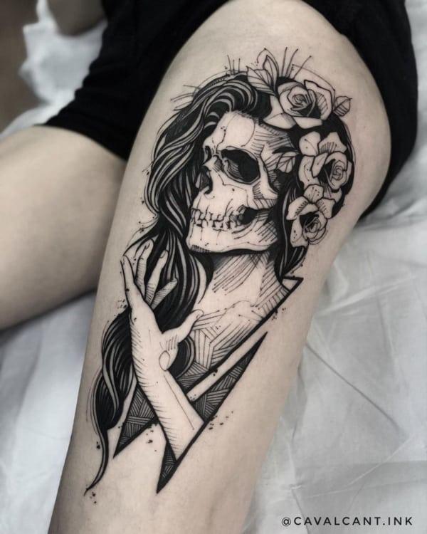 caveira mexicana tatuagem sketch