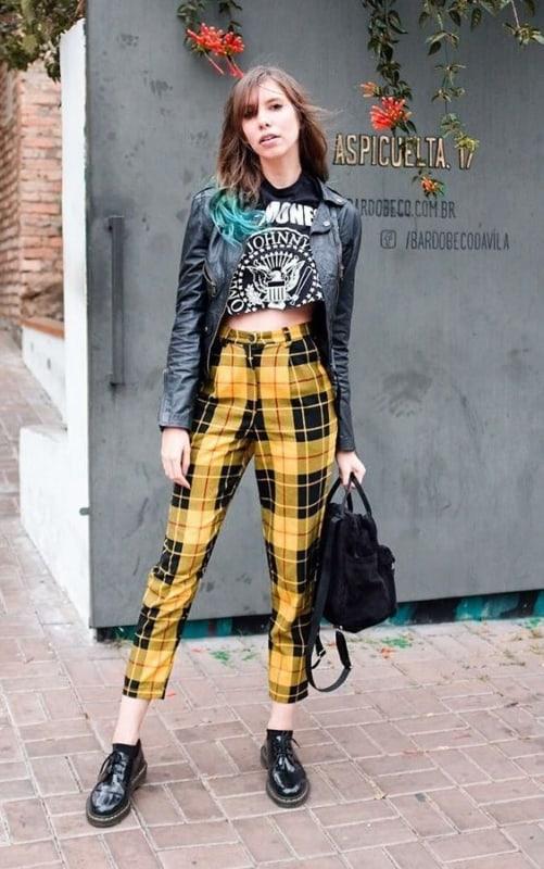 estilo retro calça cintura alta como vestir