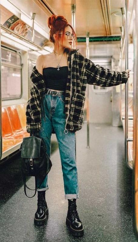 estilo retro calça cintura alta jeans