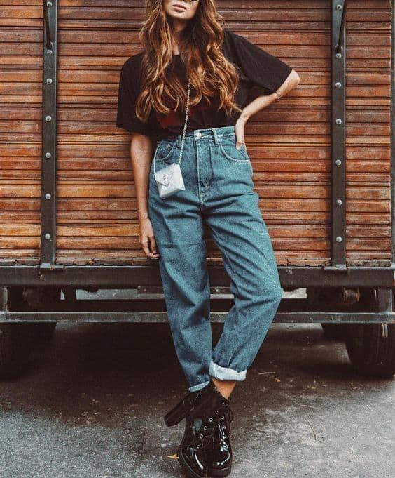 estilo retro calça cintura alta