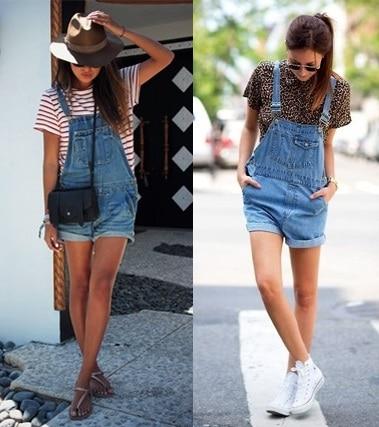 estilo retro macaquinho jeans