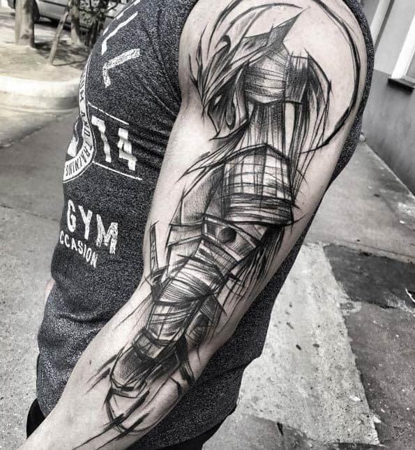 samurai tatuagem sketch