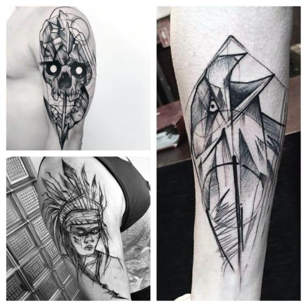 sketch tattoo estilos
