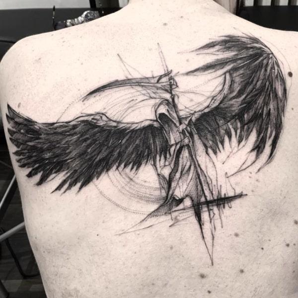 sketch tattoo nas costas