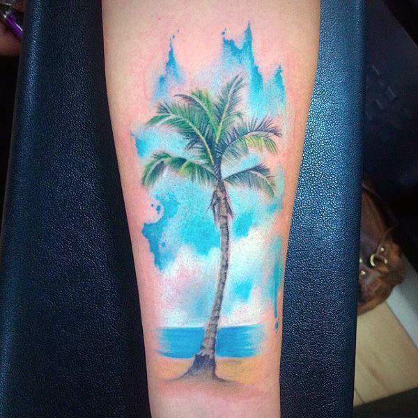 tatuagem de coqueiro aquarela
