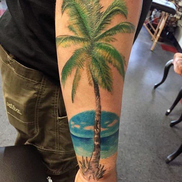 tatuagem de coqueiro colorida 1