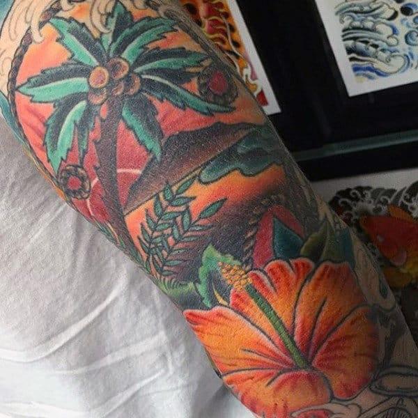 tatuagem de coqueiro colorido