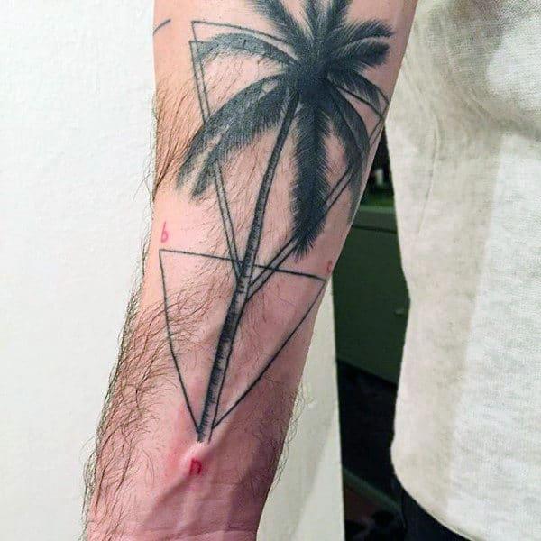 tatuagem de coqueiro geometrica