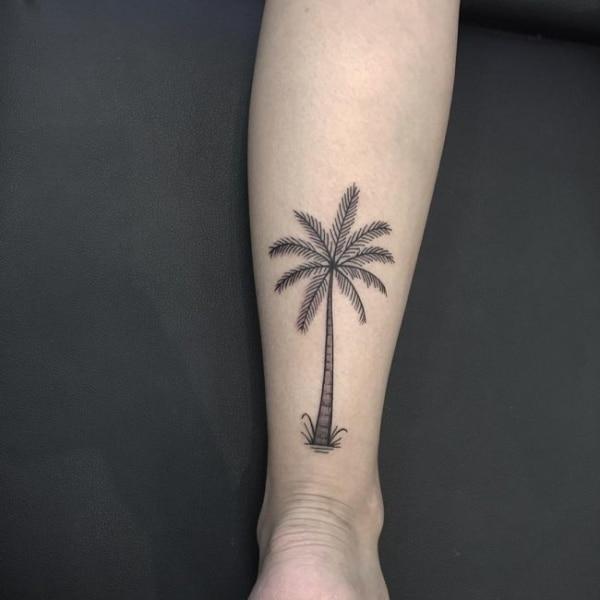 tatuagem de coqueiro na perna 1