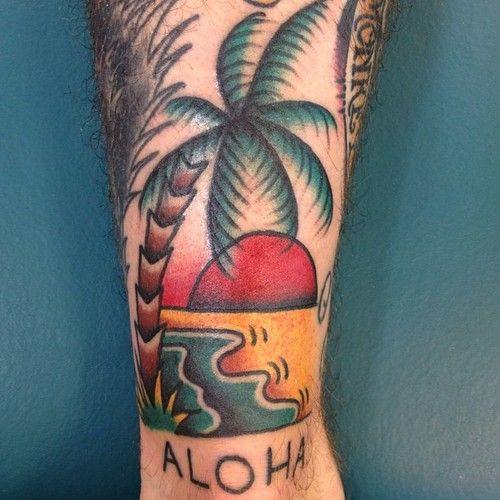 tatuagem de coqueiro old school colorida