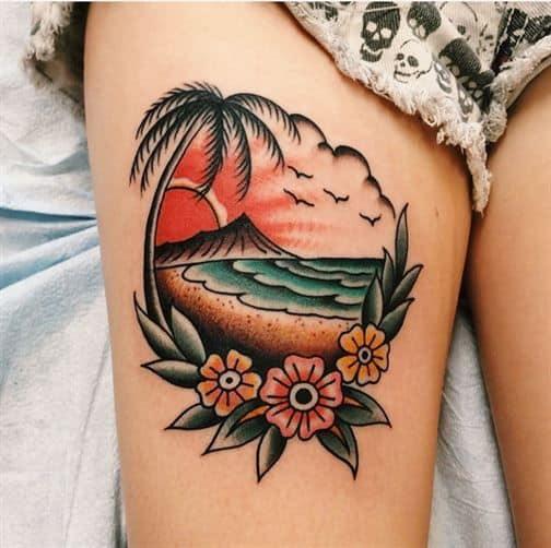 tatuagem de coqueiro old school