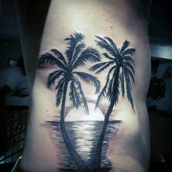 tatuagem de coqueiro sombreada ideias