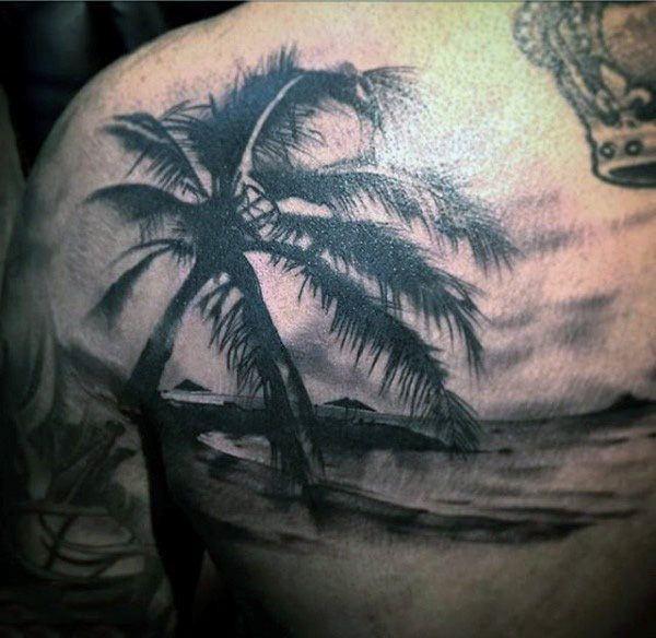 tatuagem de coqueiro sombreada