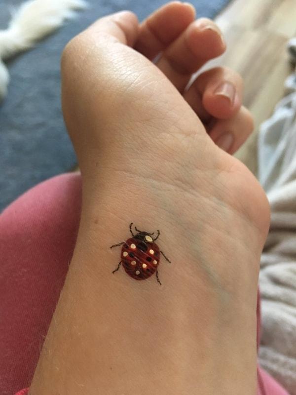tatuagem de joaninha na mão