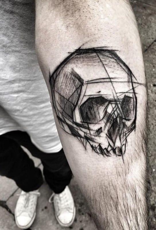 tatuagem sketch caveira