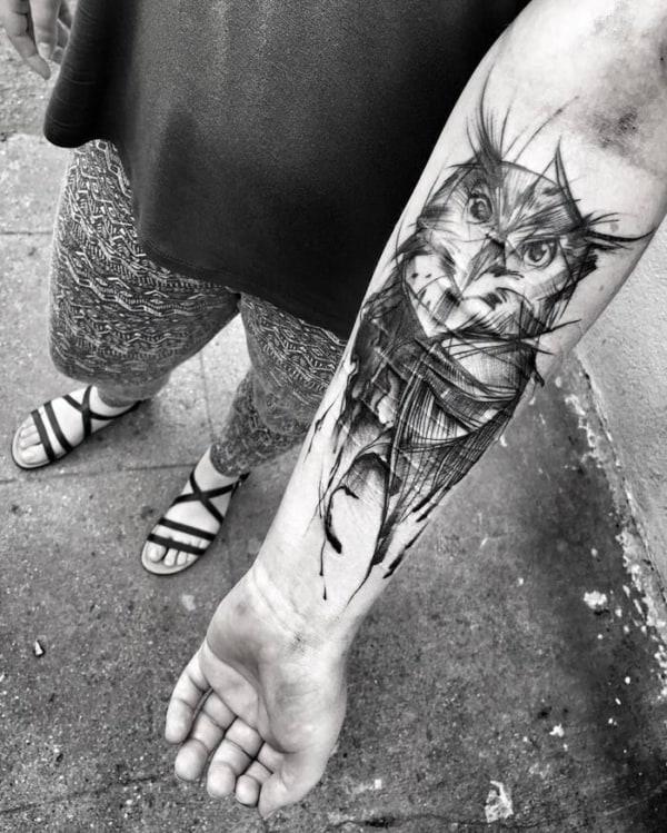 tatuagem sketch coruja