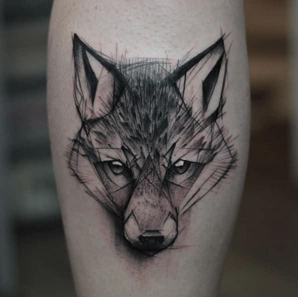 tatuagem sketch de lobo