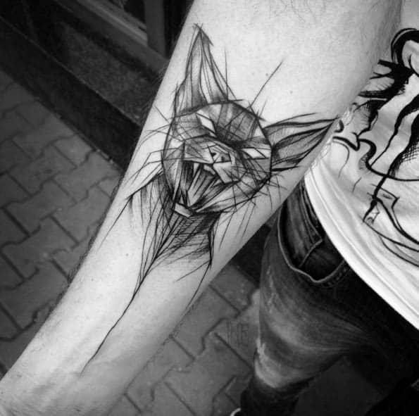 tatuagem sketch gato