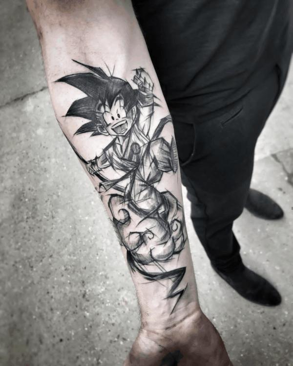 tatuagem sketch goku classico