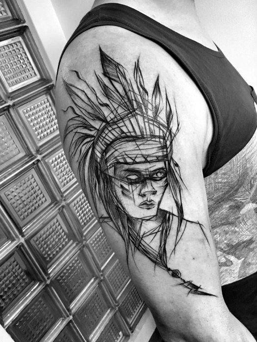 tatuagem sketch indio