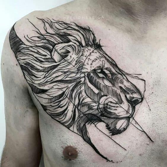 tatuagem sketch leão